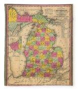 Antique Map Of Michigan 1853 Fleece Blanket