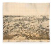 Antique Map Of New Braunfels Texas 1881 Fleece Blanket