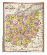 Antique Map Of Ohio 1850 Fleece Blanket