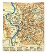 Antique Map Of Rome During Antiquity 1870 Fleece Blanket