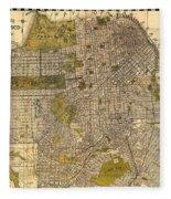 Antique Map Of San Francisco 1932 Fleece Blanket
