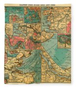 Antique Map Of The Baltic And North Sea Ports  Fleece Blanket