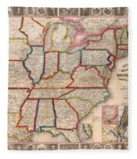 Antique Map Of The United States 1848 Fleece Blanket