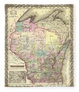 Antique Map Of Wisconsin 1855 Fleece Blanket