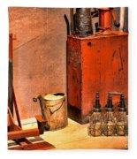 Antique Oil Bottles Fleece Blanket