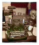 Antique Oliver Typewriter On Old West Physician Desk Fleece Blanket