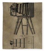 Antique Photographic Camera Patent Fleece Blanket