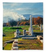 Antique Pillars And Power Plant Megalopoli Greece Fleece Blanket