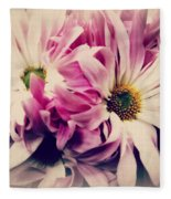 Antique Pink And White Daisies Fleece Blanket