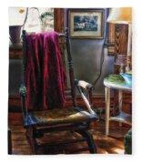 Antique Rocking Chair Fleece Blanket