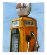 Antique Shell Gas Pump Fleece Blanket