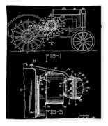 Antique Tractor Patent Fleece Blanket