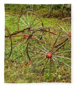 Antique Wagon Frame Fleece Blanket