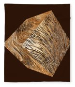 Antique White Gold Abstract Cube Fleece Blanket