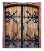 Antique Wooden Door Fleece Blanket