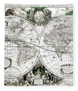 Antique World Map Poster Fleece Blanket