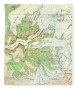 Antique Yosemite National Park Map Fleece Blanket