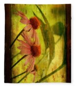 Antiqued Cone Flowers Fleece Blanket