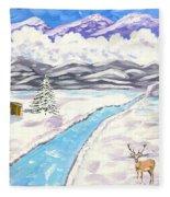 Antlers And Snow Fleece Blanket