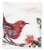 Apapane - Native Hawaiian Bird Fleece Blanket