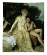 Apollo With Hyacinthus And Cyparissus Singing And Playing, 1831-34 Oil On Canvas Fleece Blanket