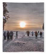 Apostle Islands Ice Cave Sunset Fleece Blanket
