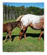 Appaloosa Mamma And Baby Fleece Blanket