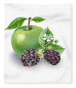 Apple And Blackberries Fleece Blanket