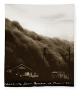 Approaching Dust Storm In Middle West By Frank D. Conard Circa 1938 Fleece Blanket