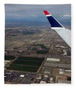 Approaching Phoenix Az Wing Tip View Fleece Blanket