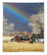 Approaching Storm At Cattle Ranch Fleece Blanket
