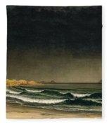 Approaching Storm. Beach Near Newport Fleece Blanket