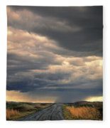 Approaching Storm On Country Road Fleece Blanket
