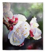 Apricot Flowers Fleece Blanket