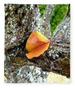 Apricot Leaf And Lichen Fleece Blanket