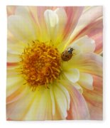 April Heather Dahlia With Ladybug Fleece Blanket