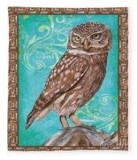 Aqua Barn Owl Fleece Blanket