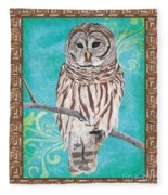Aqua Barred Owl Fleece Blanket