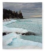 Aqua Ice At Split Rock Lighthouse Fleece Blanket