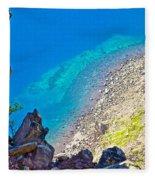 Aquamarine Shoreline At North Junction Of Crater Lake In Crater Lake National Park-oregon Fleece Blanket