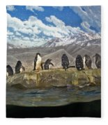 Aquarium Penguins Line Dance Fleece Blanket