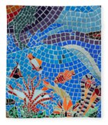 Aquatic Mosaic Tile Art Fleece Blanket