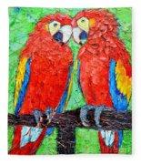 Ara Love A Moment Of Tenderness Between Two Scarlet Macaw Parrots Fleece Blanket
