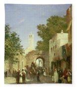 Arab Street Scene Fleece Blanket