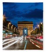 Arc De Triomphe At Dusk Paris Fleece Blanket