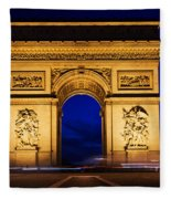Arc De Triomphe At Night Paris France Fleece Blanket
