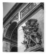 Arc De Triomphe In Black And White Fleece Blanket