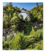 Arch Rock Mackinac Island Michigan Fleece Blanket