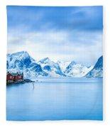 Arctic Dawn Lofoten Islands Fleece Blanket
