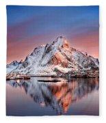 Arctic Dawn Over Reine Village Fleece Blanket